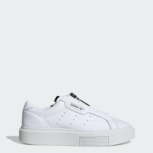 adidas Sleek Super Zip Shoes, (Ftwr White / Ftwr White / Core Black), function productLaunchDate(product, formatDate) {   return formatDate(product.attribute_list.preview_to, 'dddd DD MMMM'); }