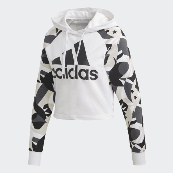 Shirt Blanc À Capuche AdidasFrance Sport Printed Sweat Id Crop iPkZuXO
