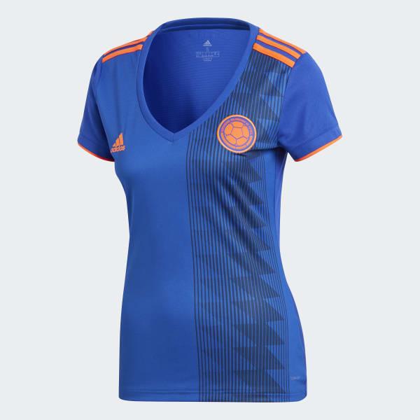 adidas Camiseta Oficial Selección de Colombia Visitante Mujer 2018 - Azul  37e52d74bae9c
