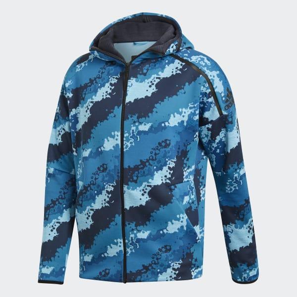 adidas Mikina s kapucňou adidas Z.N.E. Allover Print Fast-Release - modrá  d979416d6a0