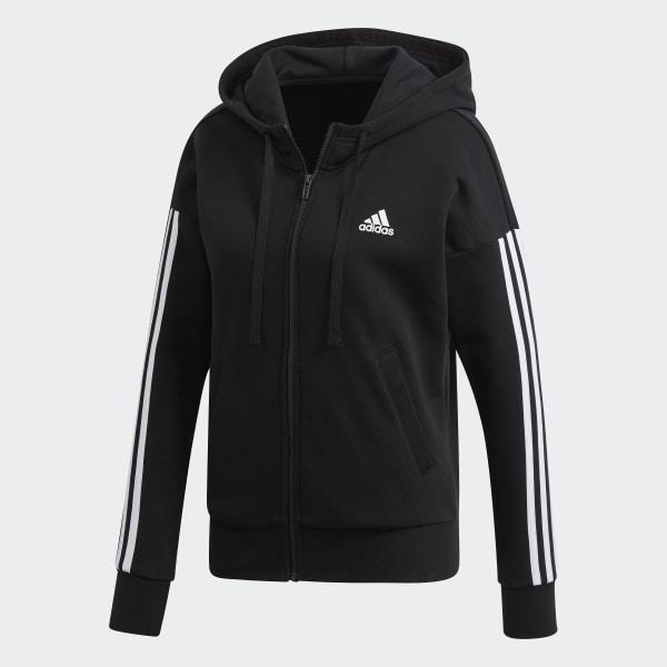 gritar Todo el tiempo Murmullo  adidas Essentials 3 Stripes Full Zip Hoodie - Black | adidas Malaysia
