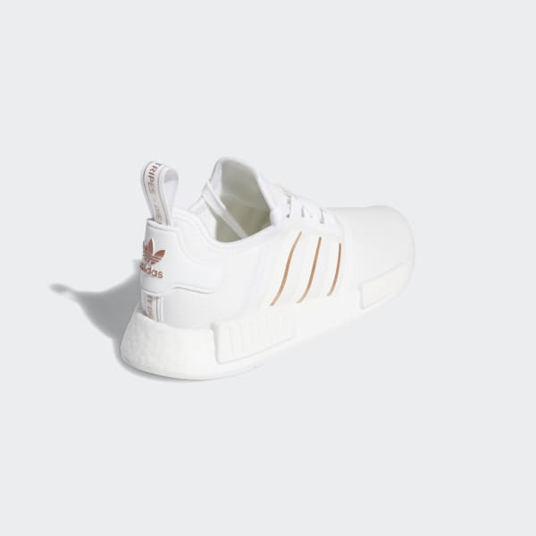 adidas white shoes with rose gold stripes