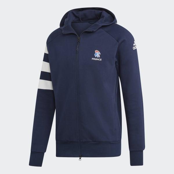 adidas French Handball Federation Kapuzenjacke Blau