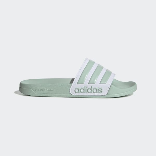 Green and White Shower Slides | adidas