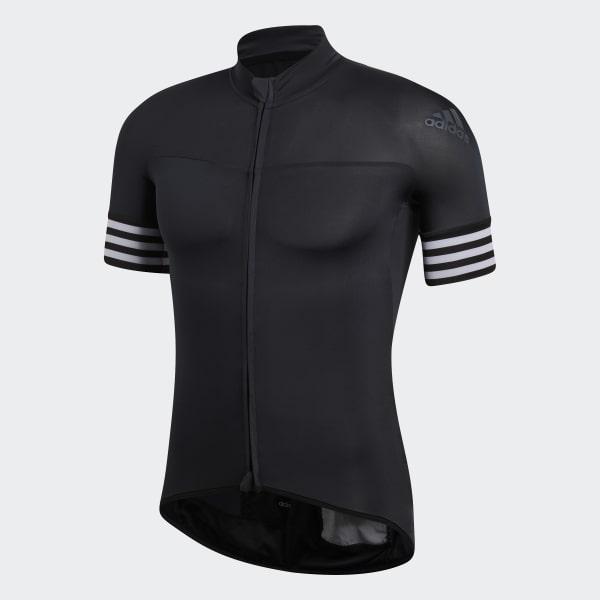 adidas AdiStar Mens Cycling Jersey Short Sleeve Full Zip Black Bike Cycle Ride