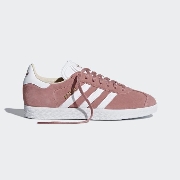 2018 Free delivery   Adidas Gazelle Originals Dark Pink White Shoes