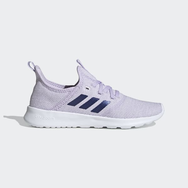 purple and white adidas sneakers