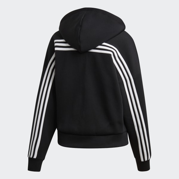 Adidas Training Must Haves 3 Streifen Kapuzenjacke Hoodie Mädchen schwarz weiß