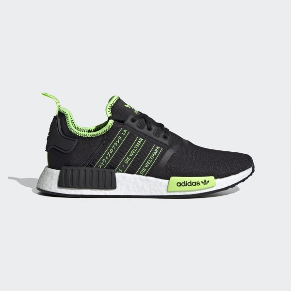 NMD R1 Black and Neon Green Shoes