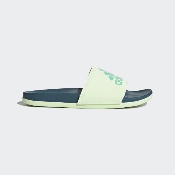 adidas Adilette Cloudfoam Plus Logo Slides - Green  a61b2c0e77