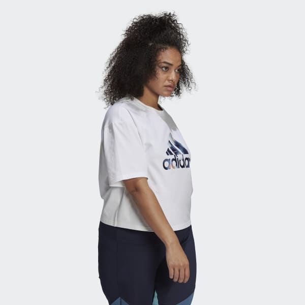 adidas x Zoe Saldana Crop Logo Tee (Plus Size)