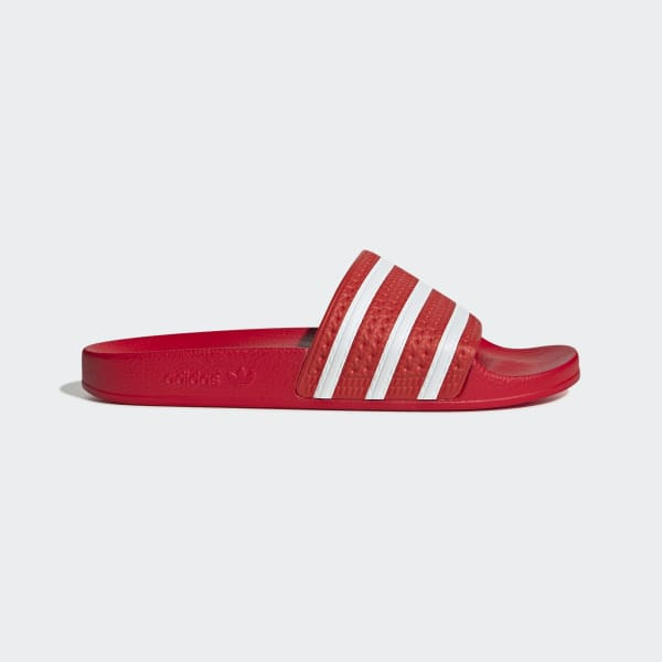Impermeable césped plato  Men's Adilette Red and White Slides | adidas UK