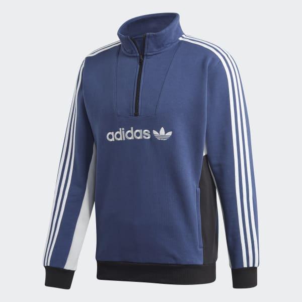 Adidas Modular Quarter Zip Sweatshirt Tech Indigo Grey