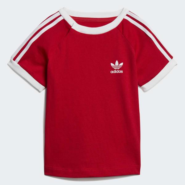 Adidas Striped T Shirt Red