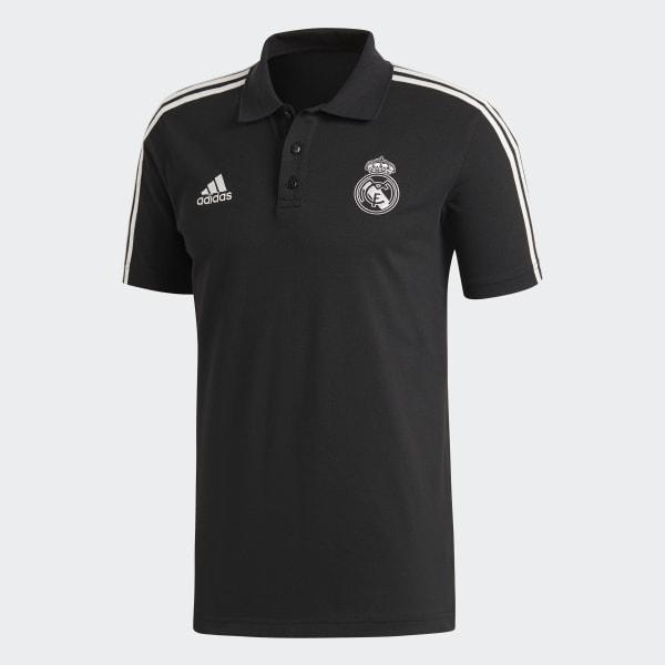 bedc138e8dcb8 adidas Playera Polo 3 Franjas Real Madrid - Negro