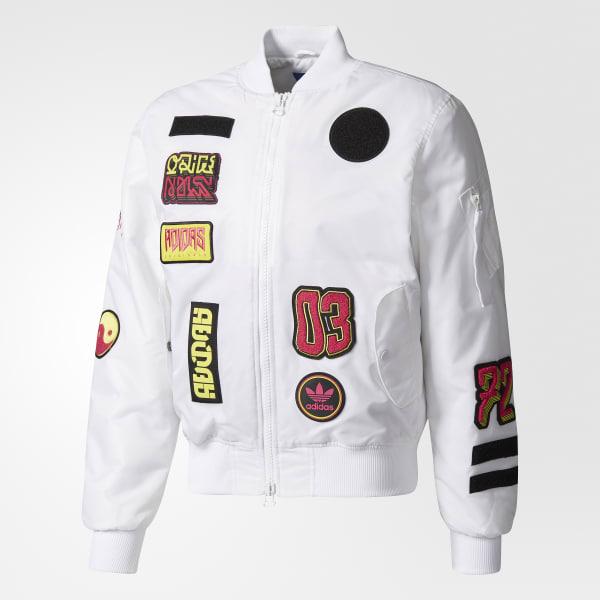 efd461032bb3 adidas Logo Padded Bomber Jacket - White