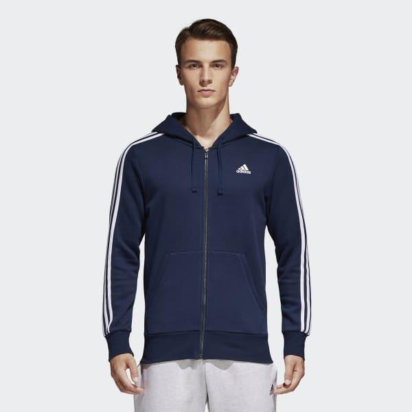 Essentials 3-Stripes Fleece Hoodie Blue S98791