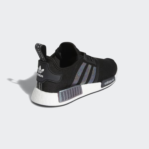 Women S Nmd R1 Black And Metallic Silver Shoes Adidas Us