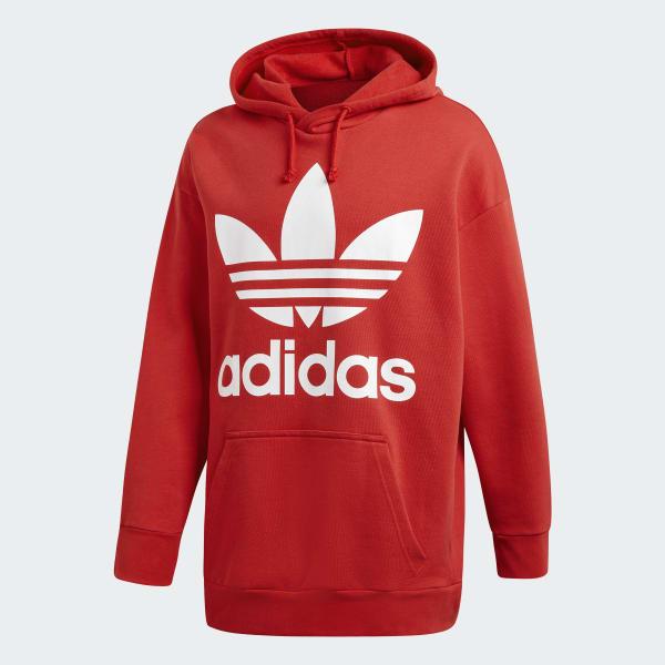 1ae70d636 Blusa Capuz Oversize Trefoil - Vermelho adidas