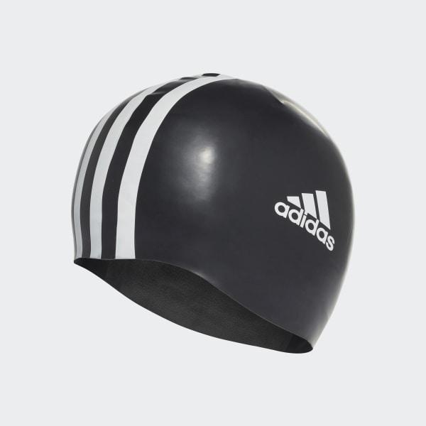 3 stripes silicone swim cap Black White 802310 42094ebdccdd