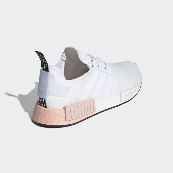 Men's NMD R1 Cloud White and Pink Shoes