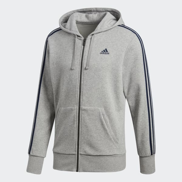 adidas Essentials 3 Stripes hettejakke Grå | adidas Norway