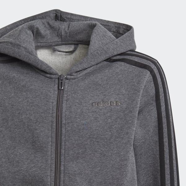 bc4e989454fe6 Veste à capuche à 3 bandes Essentials - gris adidas