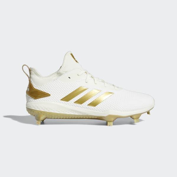 adidas Afterburner V Gold - Men's Baseball - White/Metallic Gold CG5222