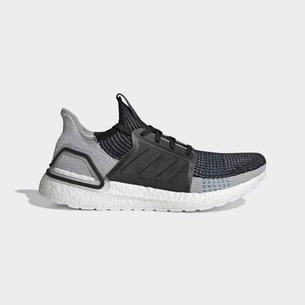 adidas Ultra Boost 19 Core Black Grey Six Shock Cyan