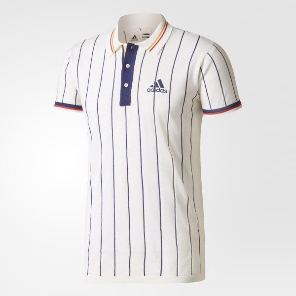 0870bb655e32 adidas Men s Pharrell Williams NY Stripe Polo Shirt Ltd - White ...