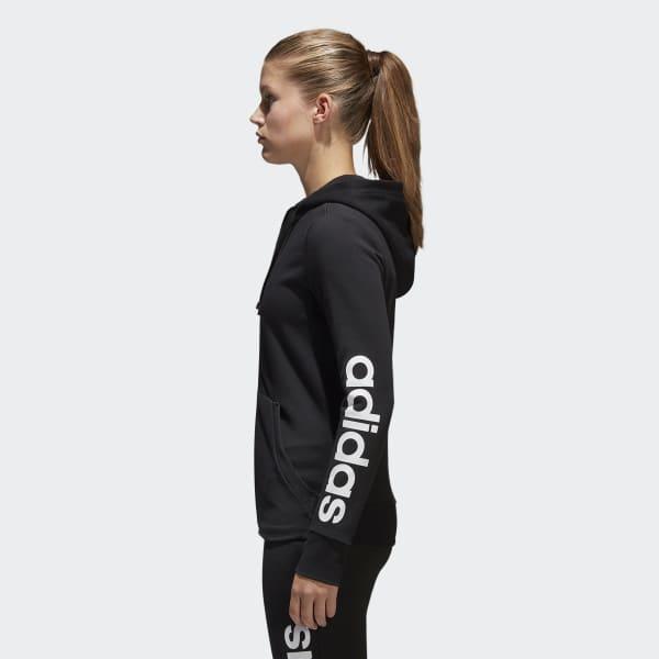 Felpa con cappuccio Essentials Linear Full Zip - Nero adidas ... ea7f4dc01def