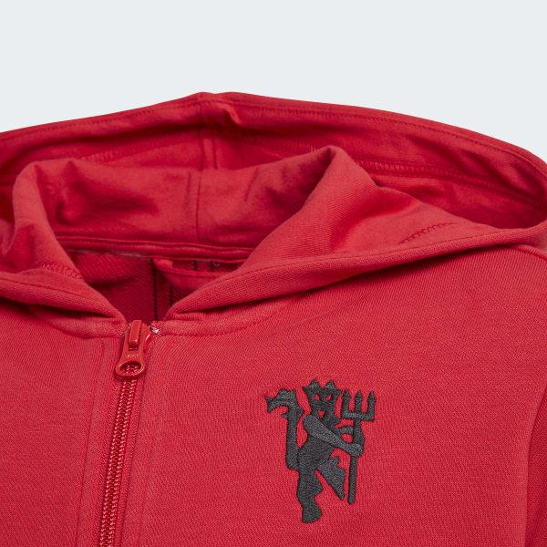 adidas Mikina s kapucňou Manchester United - červená  3f4279e3c5a