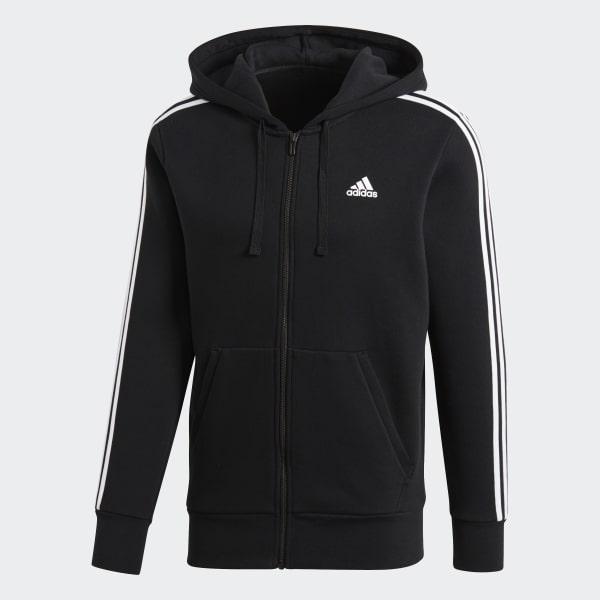 adidas Essentials 3 Stripes Fleece Hoodie Black | adidas Australia