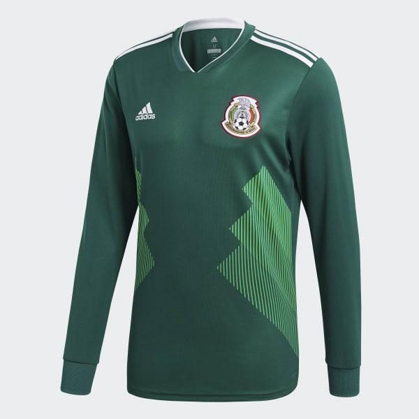 4ac1d84820 adidas Jersey Oficial Selección de México Manga Larga Local 2018 - Verde