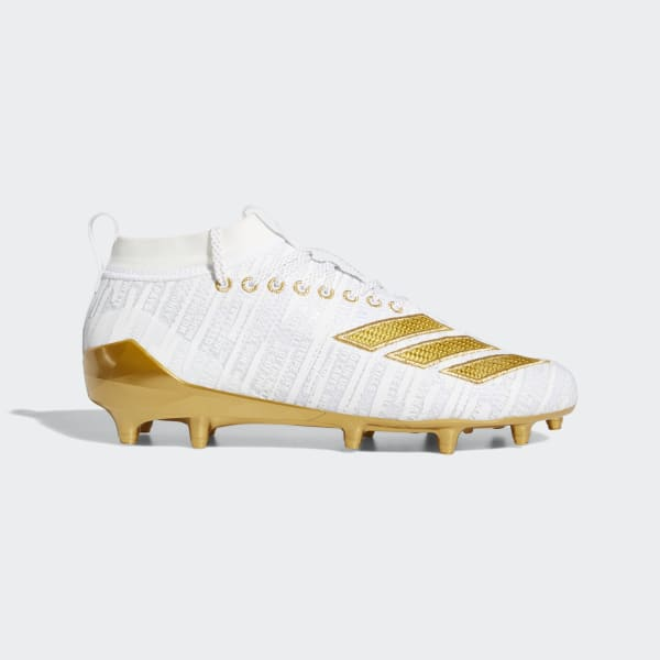 Adidas Adizero 8.0 Three Stripe Life Men's 8 Football Cleats White Gold G27956