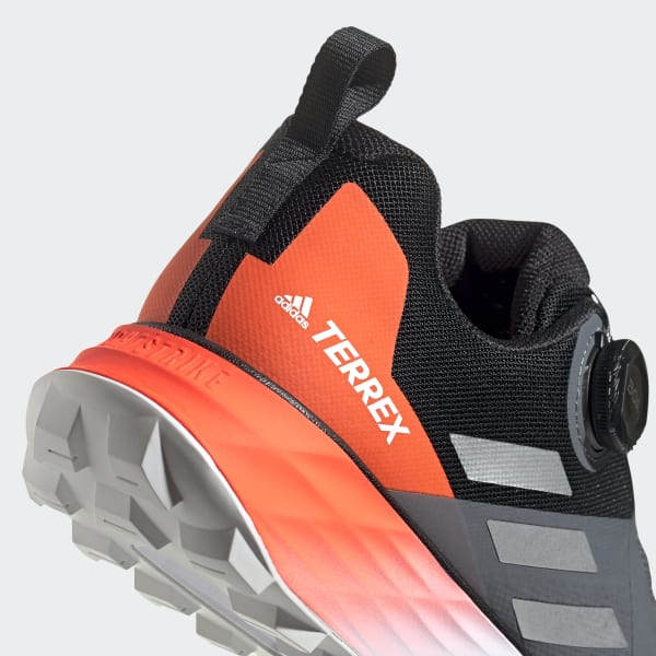 Black Orange adidas Mens Terrex Two Boa Trail Running Shoes Trainers Sneakers