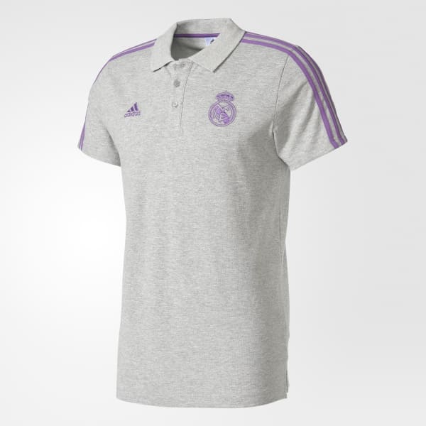 adidas Playera Polo 3 Franjas Real Madrid - Gris  768e485a54fa8