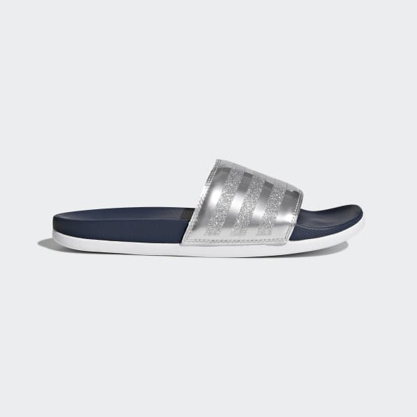 adidas Adilette Cloudfoam Plus Explorer Slides - Blue | adidas US | Tuggl