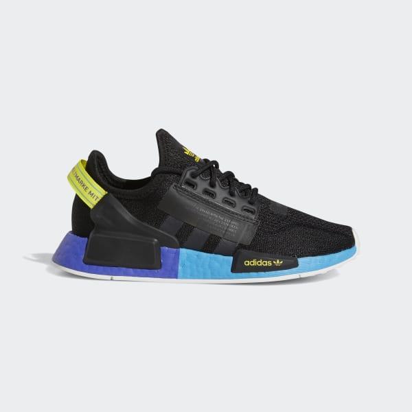 Kids NMD R1 V2 Black and Blue Shoes
