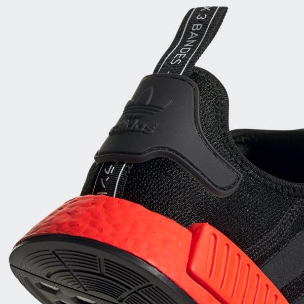 adidas nmd r1 black black solar red