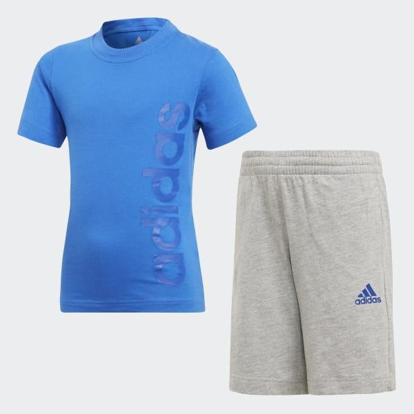 e4eb345244 adidas Conjunto Little Kids Linear Summer - Azul
