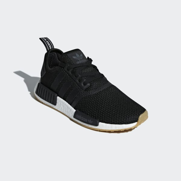 nmd r1 black gum on feet
