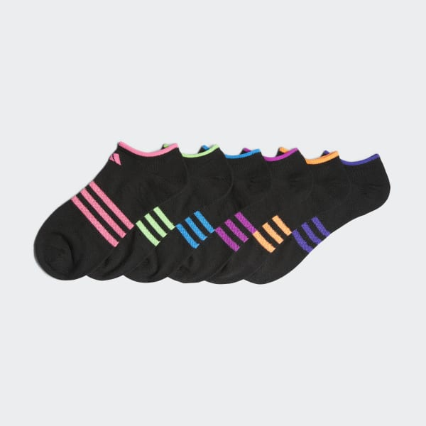 6 Pairs Girls/' Black//Multicolour Trainer Socks