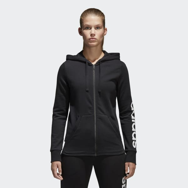Guau ropa interior Nueve  adidas Essentials Linear Full Zip Hoodie - Black   adidas UK