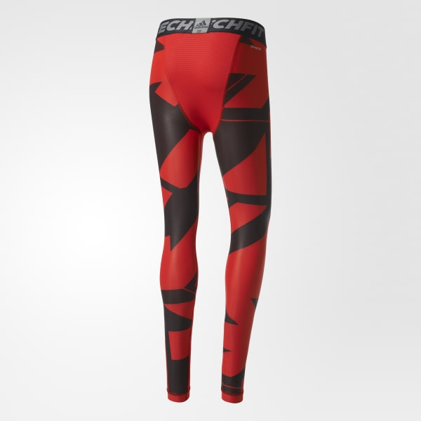 64c1f07b940 adidas Techfit Chill Graphic Long Tights - Red