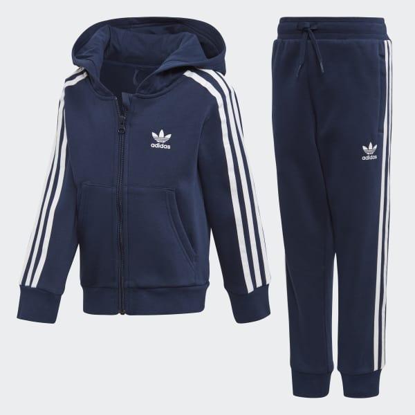 adidas Trefoil Full Zip Hoodie Trainingsanzug - blau | adidas ...