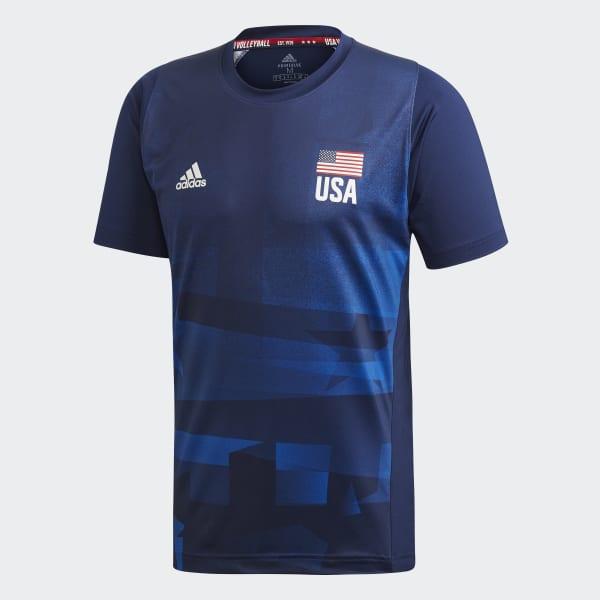adidas USA Volleyball Primeblue Replica Tee - Blue | adidas US