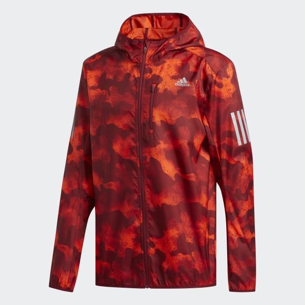 adidas Own the Run Camouflage Jacket Men active orange active maroon collegiate burgundy