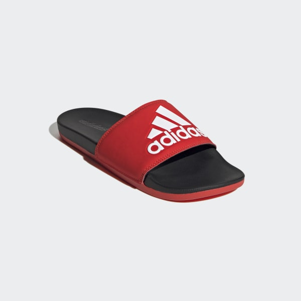 22a08decfdb adidas Adilette Cloudfoam Plus Logo Slides - Red