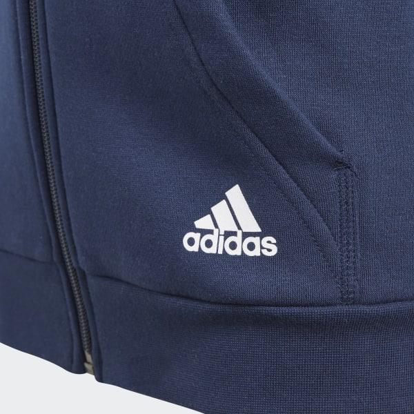 Details about Adidas Boys 3 Stripe Fleece Hooded Top Navy Full Zip Top Hoodie New CF6581
